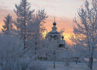 Kondopoga church in the snow