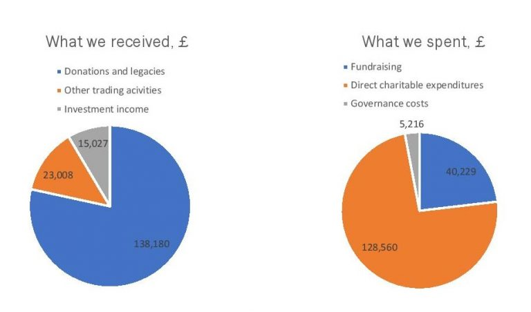 Pie charts representing income and expenditure.  Full text version within Annual Report.